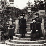 L to R: Alice Phillips (step daughter of Archdeacon Wilkinson of Totnes); Bessie Florence Cory; Edith Frances Wright Cory ('Diney'), and Edith Morton, the governess.   They are standing in the Elizabethan garden, at the foot of the steps leading to the terrace.   1894