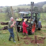 Rodney and Peter MacBean, the landowners, drilling holes for fence posts