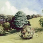 Langdon's landscape park in 1857.  Less than 70 years after the Calmady map demonstrated that the landscape park had yet to be created, this watercolour by Gertrude Calmady shows it with a substantial collection of mature trees.   The view shown looks down the valley towards the coast; Langdon Court is to the right overlooking the valley.