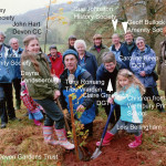The replanting ceremony. Tony Romang, in the foreground, was at the time the parish tree warden and designed and organised the replanting project.  The Devon Gardens' Trust, represented by Claire Greener, funded the purchase of timber for the protective fences. Wembury Amenity Society, represented by David Pinder, purchased the trees.