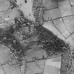 The landscape park in 1946.  Langdon Court is the light rectangle. The park is immediately to the east (ie to the right of the house). A substantial number of mature trees can be seen in the open ground largely surrounded by woodland.