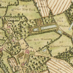 Langdon before the landscape park was created.   On this extract from the Calmady Map of 1789, Langdon Court is the pink rectangle; north-east of the Court there is no sign of the landscape park. The area which was to become the park was split between the Fir Garden, Deer Park Meadow and Rylands Meadow.   The wood in the south-east corner of the map would have provided a backdrop to the park once it was established.